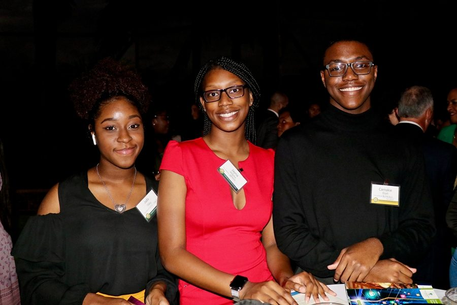 THE JOURNEY BEGINS: Three seniors Jayna Adolphe, Jada Tibby, Elijah Carnakie, received a scholarship to Palm Beach State College, at the private home of the President Ava Parker.
