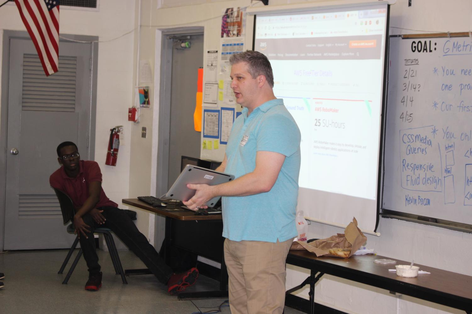 FUTURE OF TECHNOLOGY: Guest speaker Michael Harris, senior technical manager for a  cloud services technology company, talked to Mr. Martinez' Web Design students about his company.