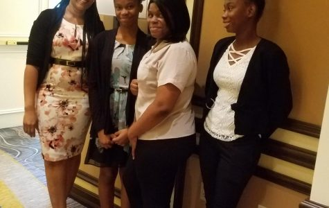 MEDICAL FUTURE: Mrs. Paramore and three of her students (Left to Right) Joliene Ciceron, Carolee Nichols, Widline Lafantant, were given the oppurtunity to attend the T. Leroy Jefferson  Medical Society Award luncheon On Saturday March 16, 2019