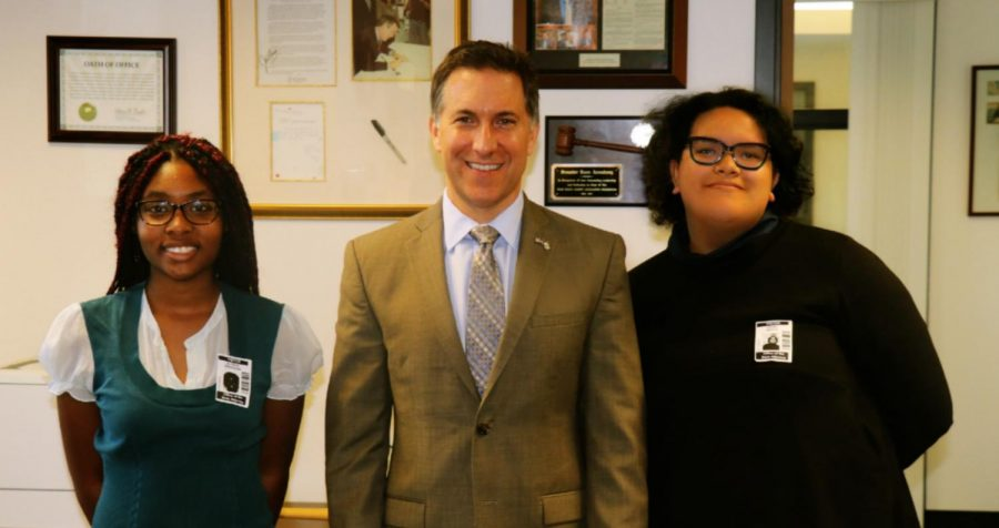 For their project on the Opioid Crisis, students ALYSSA Stephens, Junior in the Pre Law Academy, and ALYSSA Tenorio, Senior in the TV & Film Academy, interviewed Palm Beach County State Attorney Dave ARONBERG in his office.