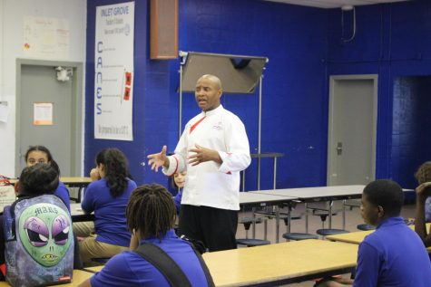 NEW YEAR, NEW CHEF: Culinary teacher from the Bronx, NY,  Chef Hall advising his 3rd hour class about what to expect for the new school year.