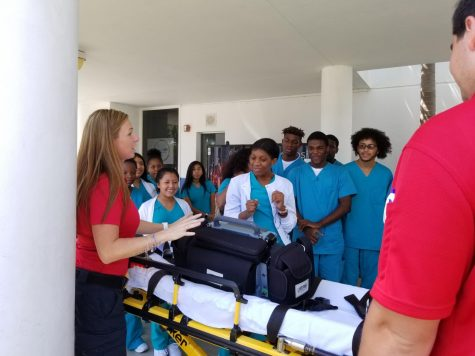SAVING A PATIENT: Medical academy students joined the AMR ambulance Sep.18 on hooking the patient up to the vital signs monitor and loading the patient on and off the stretcher.