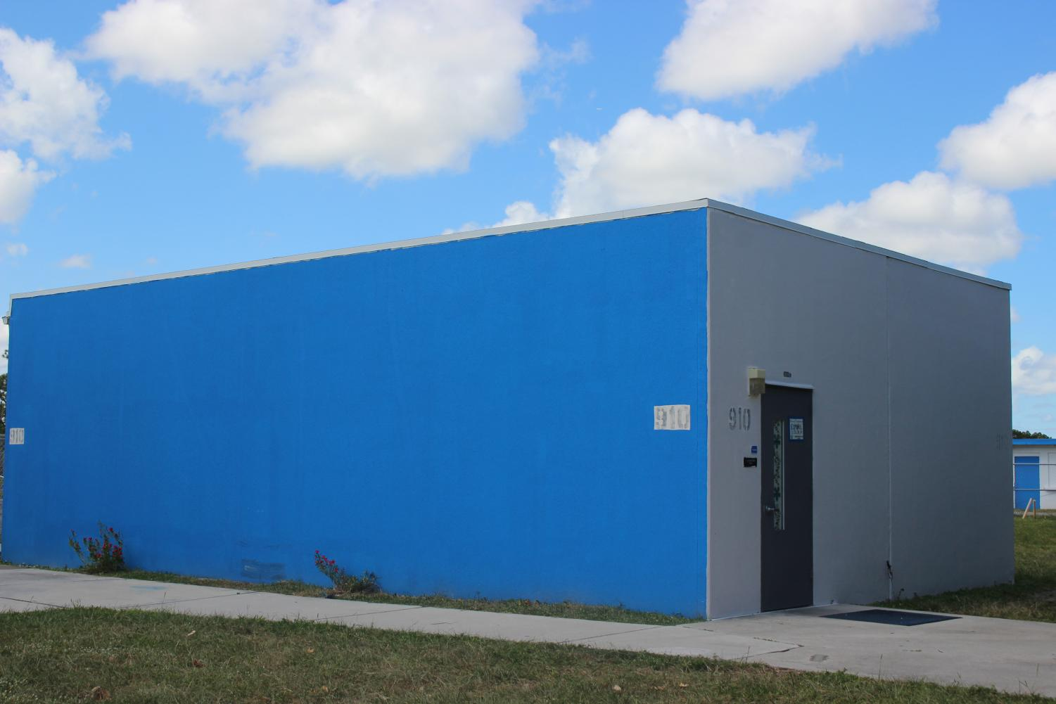 BLUE IT IS: Classroom 910 is one of the campus buildings that have been repainted in the Canes' colors.