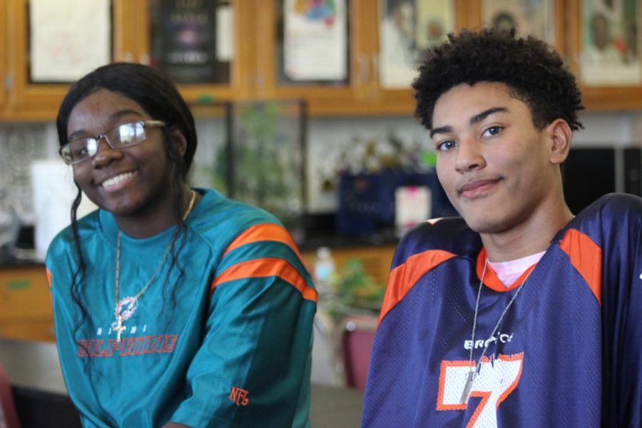 REP YOUR TEAM! To start off spirit week students and staff participated by dressing out in their favorite team jersey.  Participants: Jasmine Myrthyl and Nikholas  Boston