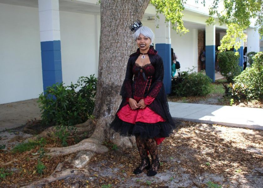VAMPTRESS: Mr. McDermott made an announcement Wednesaday, that students were allowed to dress out for Halloween. Rayan Williams, in the Digital Design Academy dressed out as a vampire.