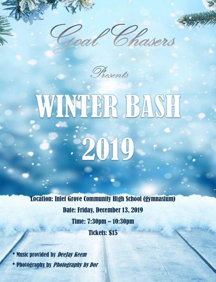 FIRST EVER: Goal Chasers will be hosting its first annual winter bash! This is a fundraising effort organized by the members to support their community initiatives. One of which will provide free books for Pre-K students at West Riviera Elementary (local Title I) on Read Across America Day. To make this dance a success your support is much needed. We are currently seeking volunteers to chaperone the dance. If you would like to cover a shift, you may contact me with the time you are available.