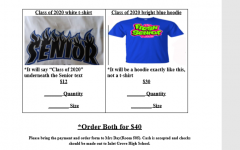 ORDER NOW: Reserve a t-shirt or hoodie in support of the class of 2020 (seniors). There will be a discount of $40 for both when you purchase them together. See Ms. Mathias in room 505 to order.
