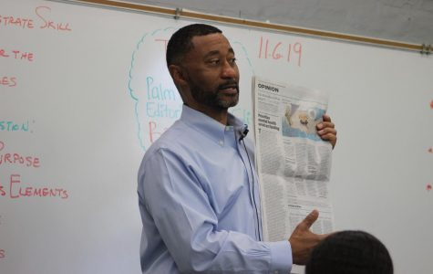 OPINION MATTERS: The supervisor of the newspaper's commentary section, which includes the editorials, columns, letters to the editor, and editorial cartoons, spoke with the journalism class about his distinguished career, and engaged the students in an exercise on how to write an Editorial.