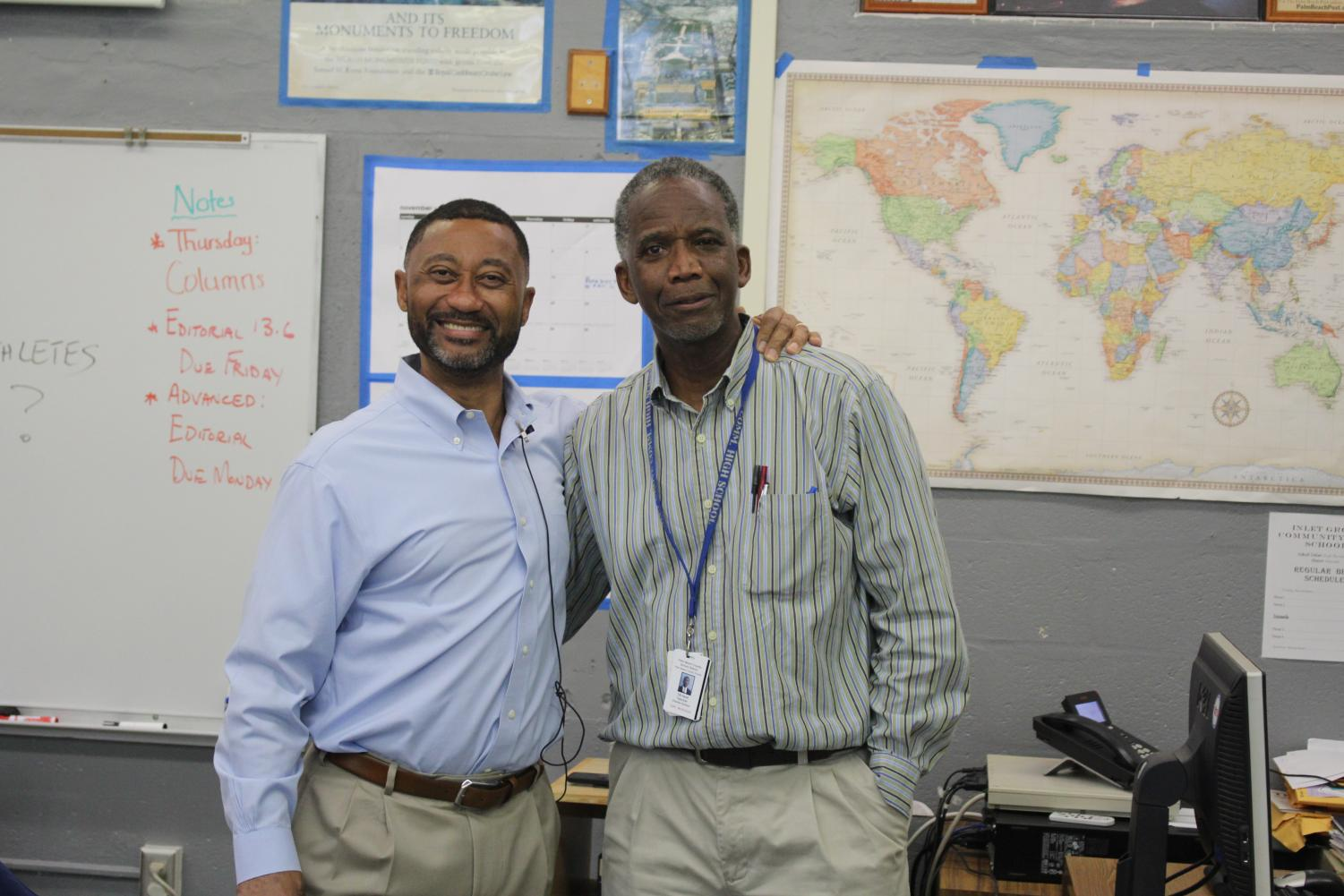 FRIENDS: Journalism instructor Mr. Hanif, invited Rick Christie the Editorial Page Editor at the Palm Beach Post to his second period, to talk about his life as an editor and to motivate the students on concepts of Journalism.