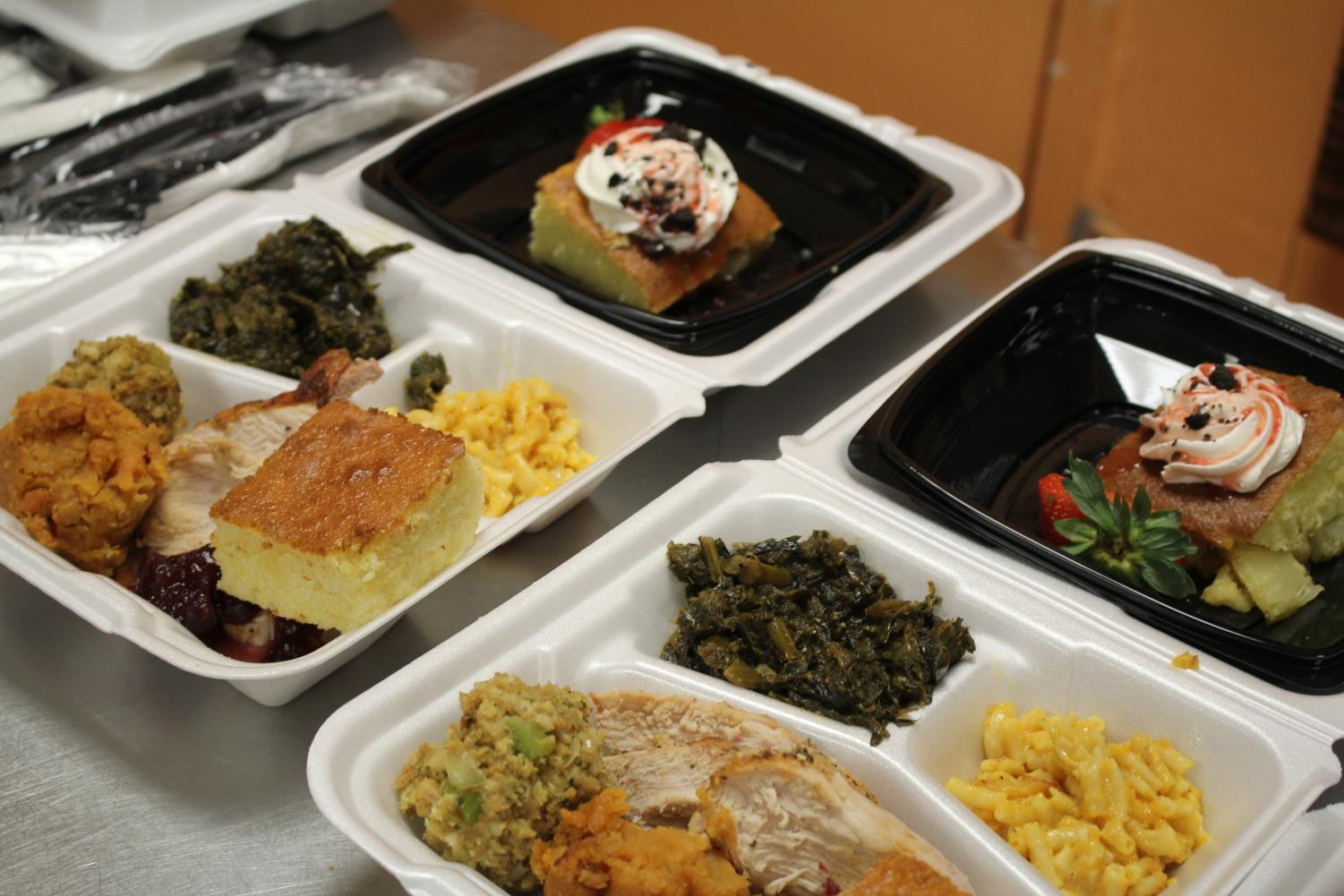 THANK YOU: For today's teacher lunches the Culinary Academy students did a Thanksgiving theme. The meal consisted of turkey topped off with cranberry sauce, baked mac-&-cheese, stuffing, cornbread, collard greens and yams. For dessert the kids did a spin-off on tradition. Instead of your ordinary pumpkin pie, dessert was a strawberry shortcake with a sweet surprise on the bottom.
