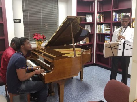 JAM SESSION: On Fri. 13, the students had a recital at the Media Center. The students performed by dancing, singing, and playing the saxophone.
