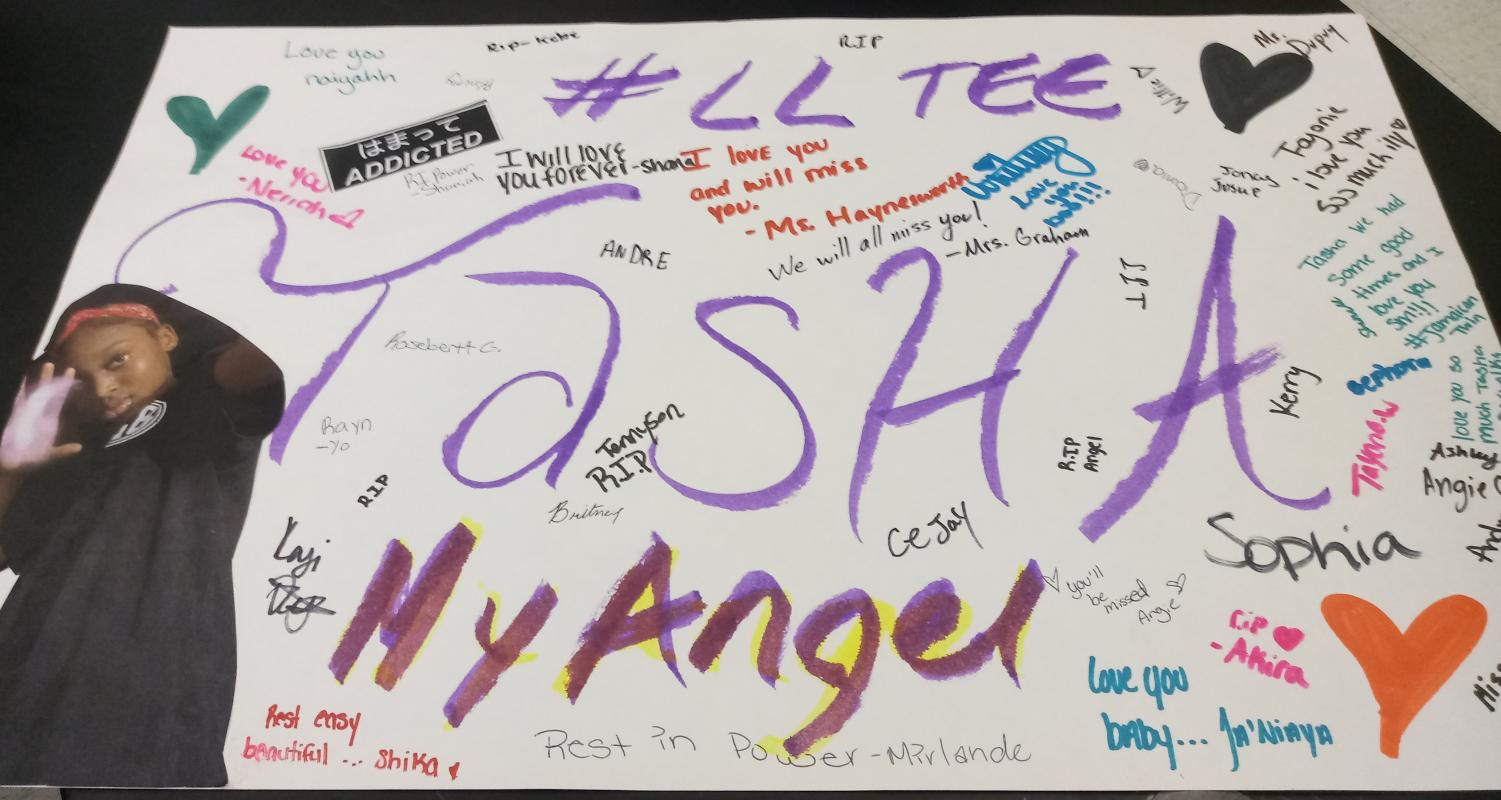 REST IN PEACE: Natasha Dwyer a Sophomore in the Medical Academy died in a tragic accident early yesterday morning. Students and friends created memorial boards and went around to different classes for other students to contribute.