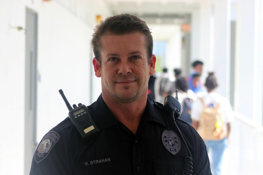 THE MAN: Officer Ryan walks around and keeps an eye on the school campus make it a safer place to learn.