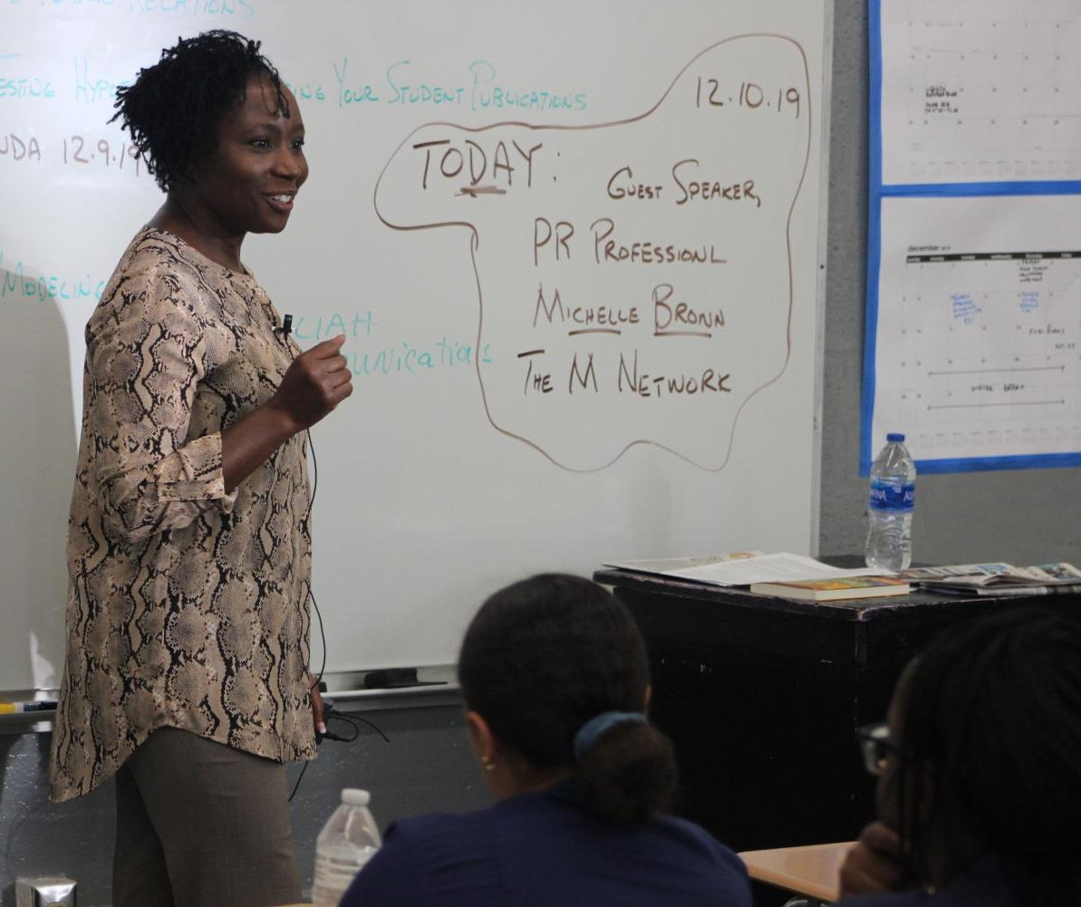 PUBLISIST: Public Relations Professional and Entreprenuer of Kaliah Communications Ink, Michelle Brown, visited Mr. Hanif third hour to speak to the students about how public relations relates to journalism.