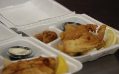 FISH N' CHIPS: The menu for this Thursday teacher lunches was a classic Fish N' Chips (fried fish and french fries) with a side of homemade tarter sauce for dipping.