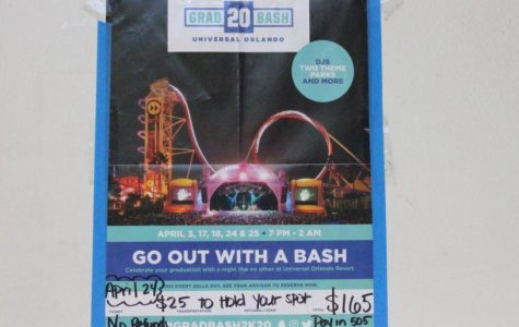 OUT WITH A BASH: English instructor Ms. Day posted a flyer outside of her classroom rm 505 to advertise and inform senior students to come out for Inlet Grove's 2020 Grad Bash event.