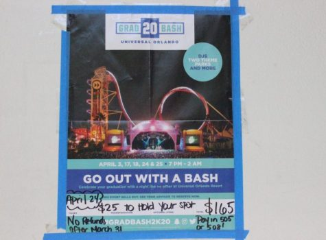 OUT WITH A BASH: English instructor Ms. Day posted a flyer outside of her classroom rm 505 to advertise and inform senior students to come out for Inlet Grove