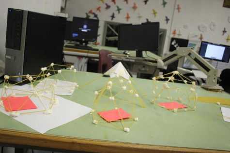 CUPOLA (A SMALL DOME): Mr. Lambaz students designed and built little models of geodesic domes out of noodles,marshmallows, and tape in all of their classes.