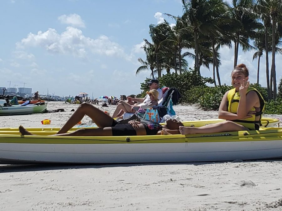 GET YOUR LIFE VESTS:  The marine tech and other students  went kayaking to Peanut Island and stayed there all day on Feb 19. The students went snorkeling, kayaking and, hung out on the beach.