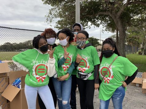 FOOD DISTRIBUTION: On Dec. 19 2020, The National Honors Society club participated in the annual Feeding South Florida drive-through food distribution.