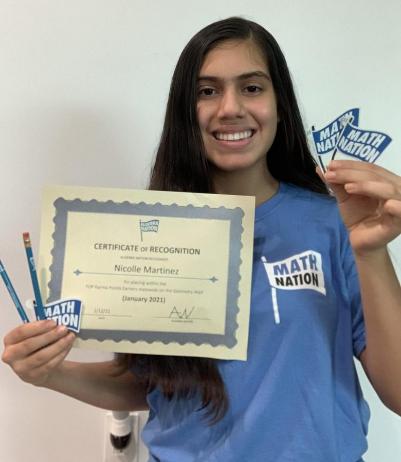 Nicolle Martinez:a 9th grader, earned a Math Nation Prize Pack for her involvement on the Math Nation Geometry Student Wall, helping other students and answering challenge questions in the month of January.