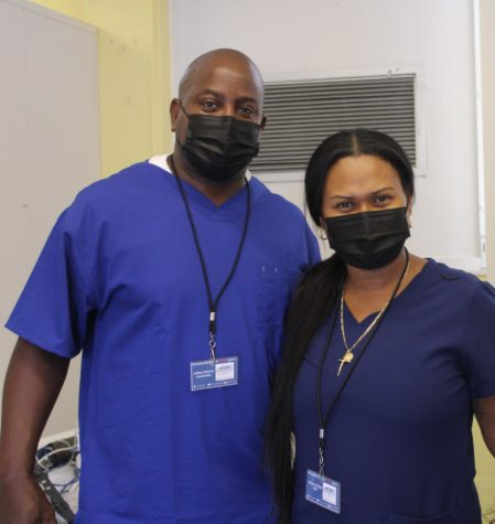 COVID-19 TESTING: Registered nurse, Nicole Gordon and Paramedic, Jeff Nelson came to test students and staff for the virus.