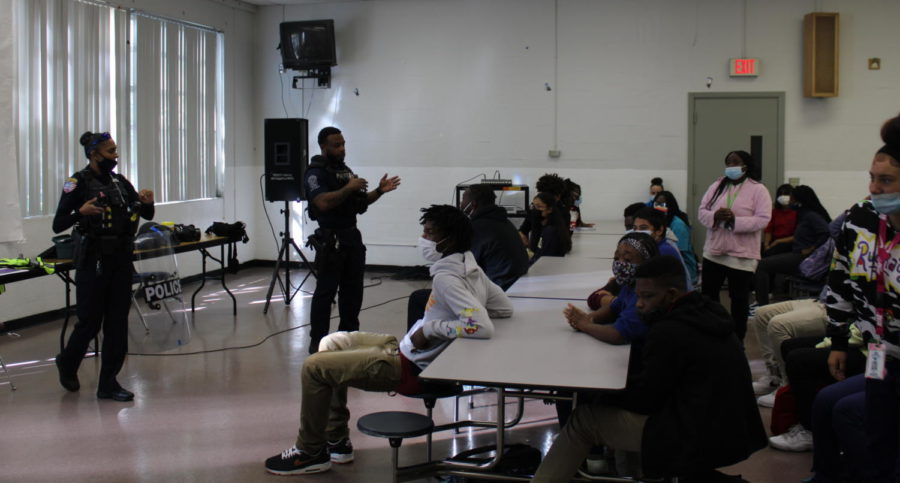 FREEZE: Coach Donovans students got the chance to speak with the Riviera Beach officers in the cafeteria on 10/6/21.